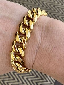 15mm Chunky Cuban Curved 18ct Gold Filled Bracelet
