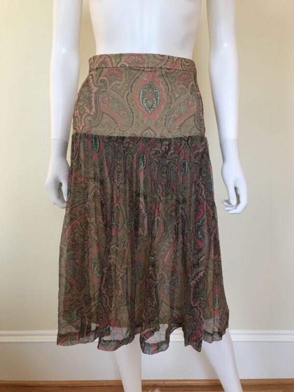 80s Vintage Vicky Tiel Silk Chiffon Paisley Pleats Designer Nerd Fashion Skirt 8