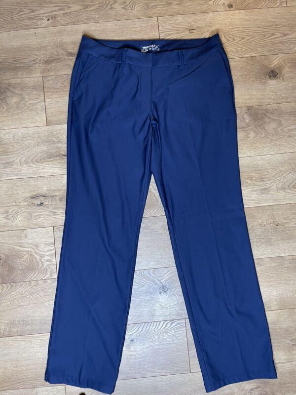 Nike Golf Tour Performance Women Pants Size 12 Navy DriFit Straight Leg Stretch