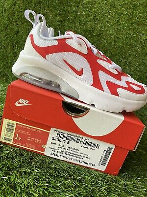BOYS: Nike Air Max 200 Shoes, White/University Red - Size 1Y AT5628-101 (PS)