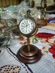 6 Brass Engraved Table Clock, Classic Victorian Desk Clock With Wooden Base