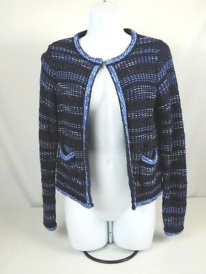 Chicos Cardigan Size 0 or XS Open Front Short Sweater Jacket Blue Long Sleeve -