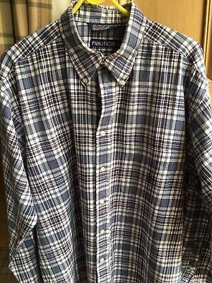 Nautica Vintage Blue & White Check Shirt Size Large 100% Cotton