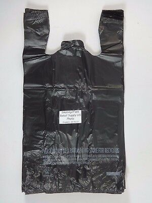 1/6 Plastic T-Shirt Bags with Handles Black 11.5