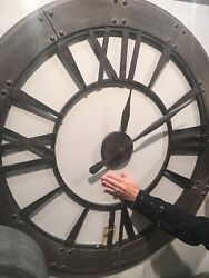 HUGE 40 DARK RUSTIC BRONZE ROUND WALL CLOCK LARGE ROMAN NUMBERS RUST GRAY FRAME