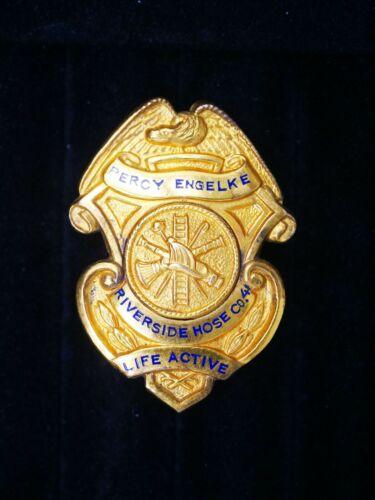 """Vintage Tarrytown New York Riverside Hose Co. #4 Fire Badge Gold Filled 1 3/4"""" T"""