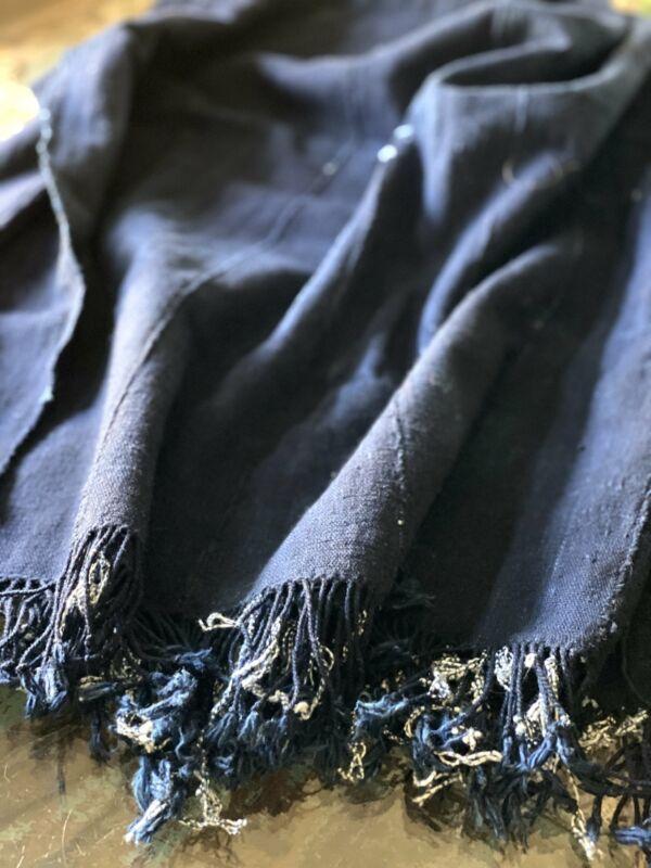 Vintage African Dark Indigo Denim Mossi Mudcloth Throw   No. 34