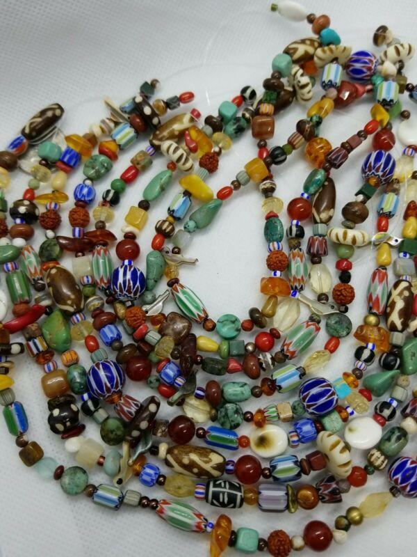 "Vintage Trade Beads Southwest CHEVRON Bird ETHNIC GEMSTONE 4-15mm Beads 12"""