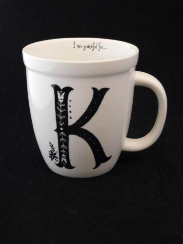 """Monogrammed K """"I am greateful for..."""" Fine Porcelain Barista Mug by Natural Life"""