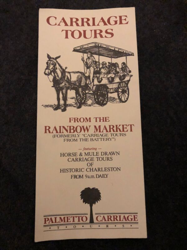 Palmetto Carriage Tours From The Rainbow Market Travel Brochure South Carolina