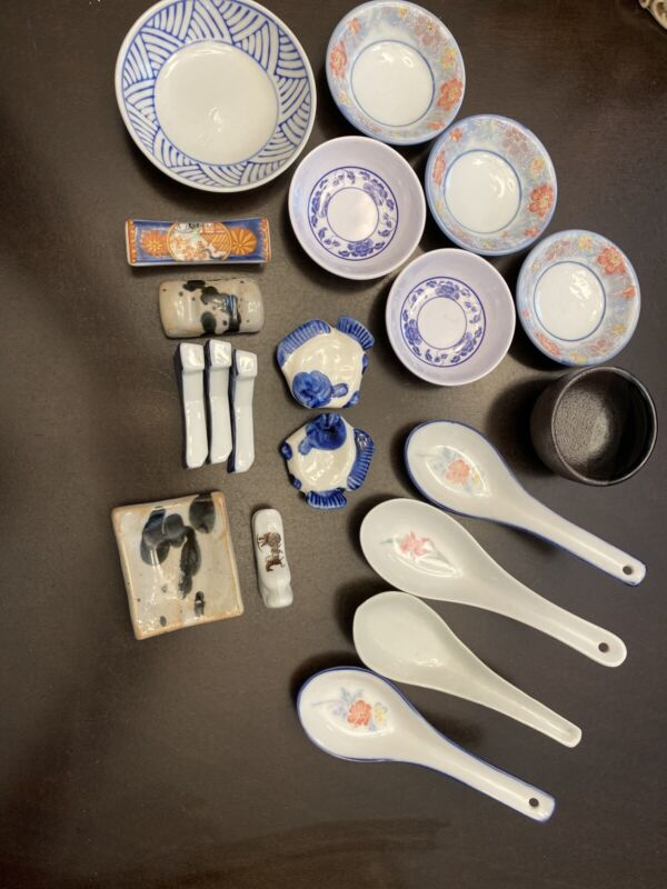 Japanese Assorted Spoons Chopstick Holders Mini Bowls Saki Porcelain Melamine