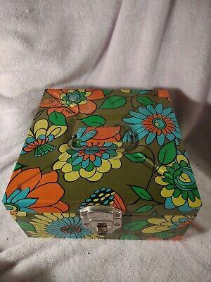 VINTAGE 1970s Retro Groove Flowers Metal Box BALLONOFF used rusty spots
