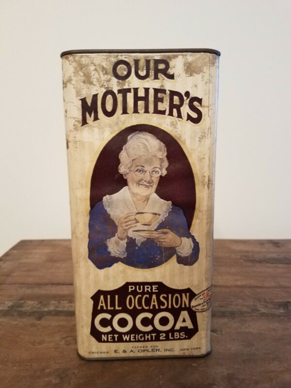 Antique OUR MOTHERS Cocoa Tin 2 LBS Chicago /N Y original  large PAPER Label