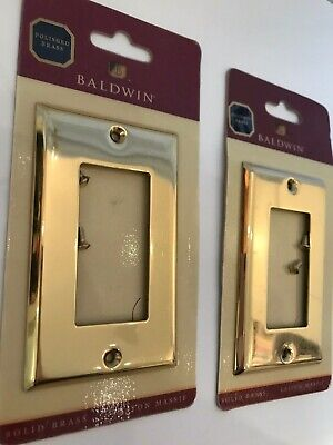 2 NEW Baldwin Beveled Edge Single GFCI Solid Brass Switch Plate4754-030-CD