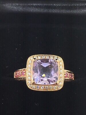 LEVIAN 14K Rose Gold Amethyst Pink Sapphire and Diamond Ring (Size 6 or 6 5/8) Amethyst Pink Sapphire Ring