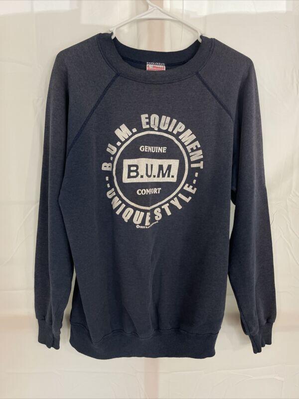 """Vintage B.U.M. Equipment Sweatshirt Big Graphic 1993 VTG 90s Sz XL MEASURE 23"""""""