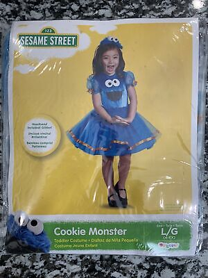 New Sesame Street Cookie Monster Dress-Up Play Costume Size Large 4-6X Halloween