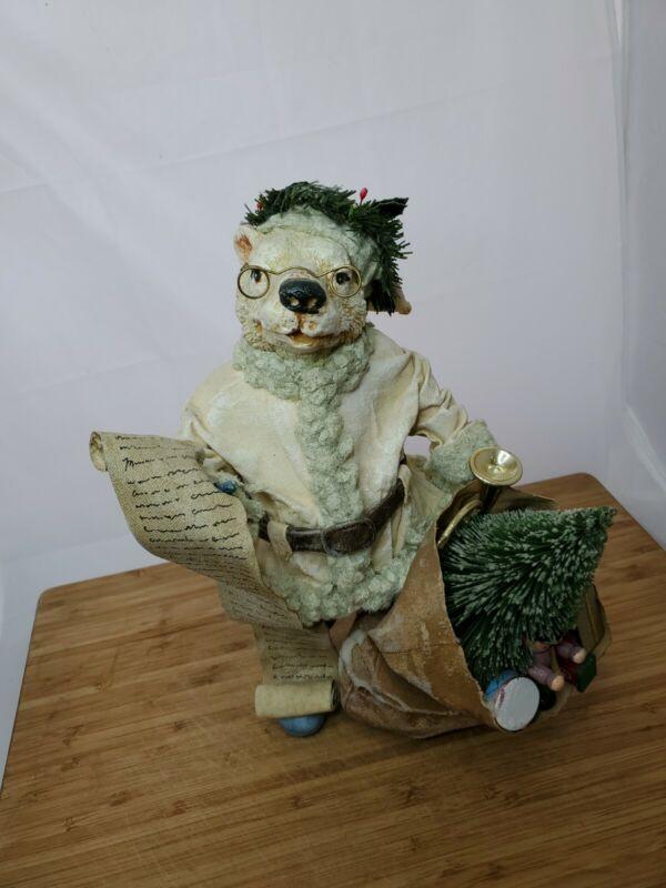 "Vintage Clothtique 1988 Folkraft Possible Dreams 11"" Polar Bear Santa Figure"