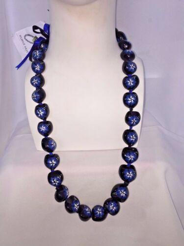 Hawaii Wedding Kukui Nut Lei Necklace  BLACK W/ Blue HIBISCUS/HAWAII ( QTY 2 )