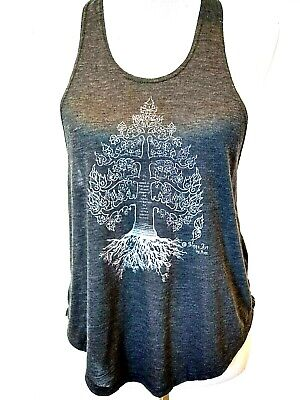 Sinns Art Womens Gray Tree Of Life Buddha Quote On Back Tank Top Size Small