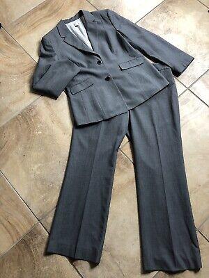 Tahari Women 16 Black Checked Button Front Blazer & Straight Leg Pant Suit OP