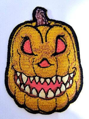 Pumpkin Evil Jack O Lantern Patch Embroidered Iron On Halloween Horror - Evil Pumpkin
