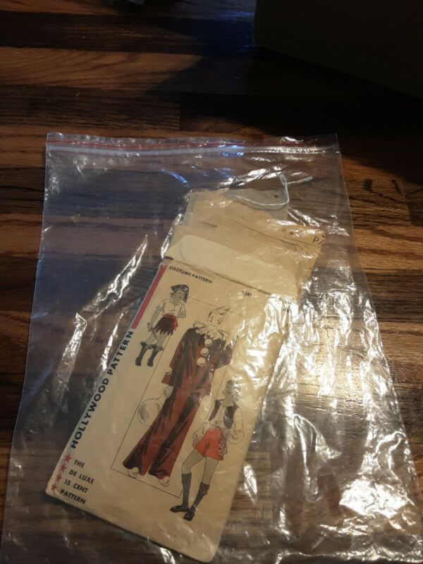 Hollywood Vintage 30s Original Costume Pattern # 1241 Clown Gypsy Pirate 8 years