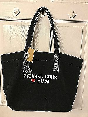 Michael Kors Miami Tote in Stencil Script Black Canvas w Detatchable Pouch NWT - Michaels Stencils