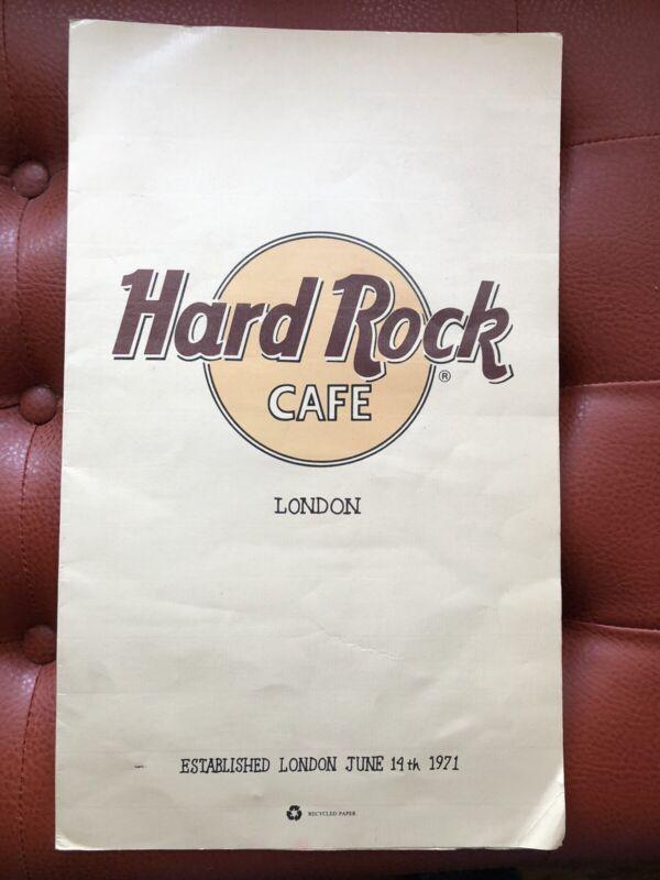 Vintage Original Hard Rock Cafe London Laminated Resturant Menu