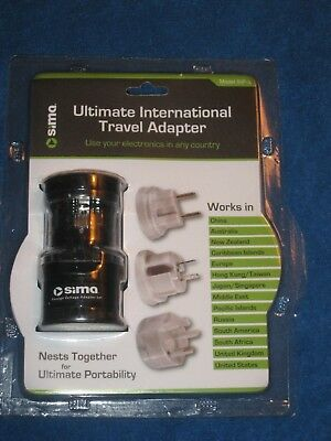 Sima International Plug - Sima SIP-3 Ultimate International Travel Adapter Plug Set, Nests Together, New!