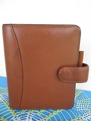 Compact 1.25- Rings Franklin Coveyquest Planner Binder Brown Leather Mag. Snap