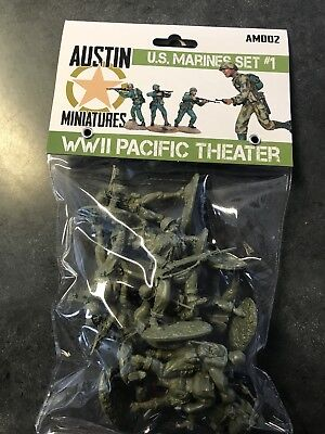 Austin Miniatures, Conte, TSSD 1/32 scale plastic figure WW2 US marines OD green