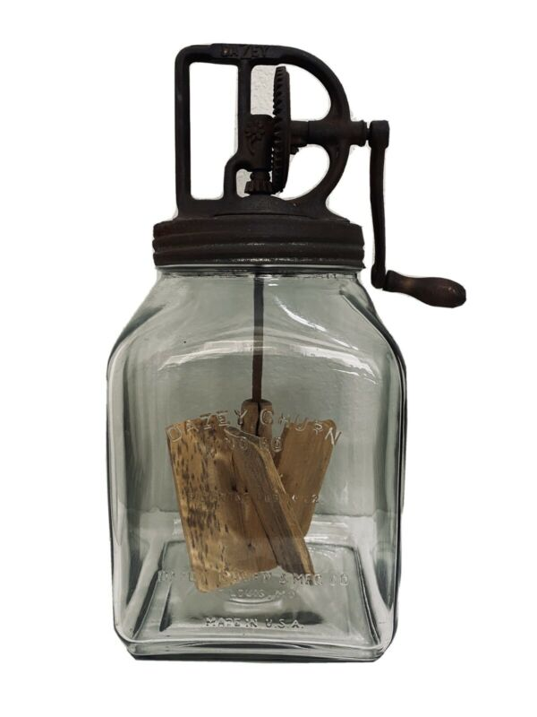 Original Dazey Butter Churn No 60 Glass Jar Wood Paddle Feb 14 1922 St.Louis