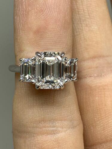 4.28 carat Emerald Cut Diamond Engagement Ring F Si1 Gia