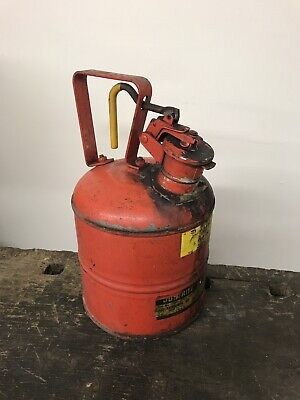 Vintage Justrite Red One Gallon Safety Gasoil Can.