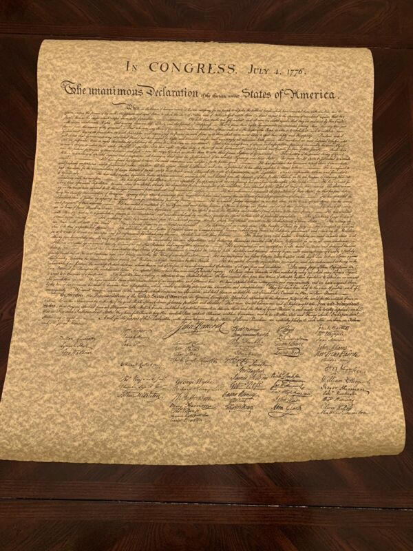 Large Parchment Replica Of The Declaration of Independence in a Tube