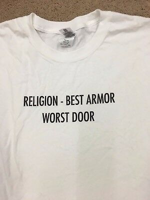 Religion Best Armor Worst Door--Tee T-Shirt Brand New White--Size 3XL