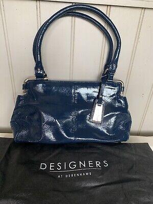 Jasper Conran Leather Patent Navy Handbag