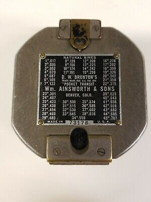 Vintage D.w. Bruntons Pocket Transit Compass Ainsworth Sons No Case. E2
