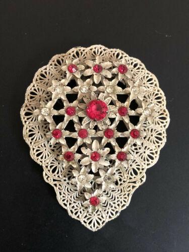 Antique Victorian Clear & Pink Rhinestone White Floral Dress Clip