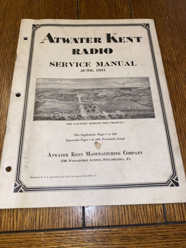 1931 ATWATER KENT RADIO SERVICE MANUAL PARTS - Models - 64 Pages