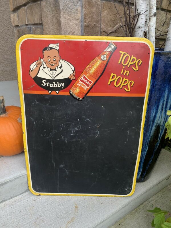 Vintage Stubby Soda Pop Chalkboard Advertising Sign