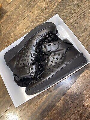 Brand NewVALENTINO GARAVANI Black Leather Rockstud High-Top Sneakers Size 11 US