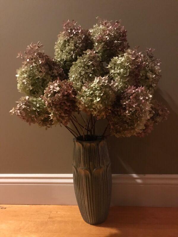 12 Dried Hydrangea Lt. Green, Cream, Pink Wedding, Primitive Bouquets, Craft