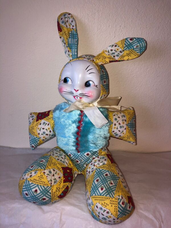 Vintage Stuffed Anthropomorphic Easter Bunny Rabbit Handmade Plastic Face Clean