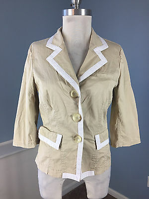 Chino-twill-khaki (Michael Kors M 8 Chino twill khaki white tipped Blazer Jacket Excellent 3/4 slv)