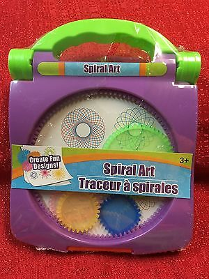 Purple Spiral Art Craft Set Spirograph -Stencil Spiral Wheels Compact Travel