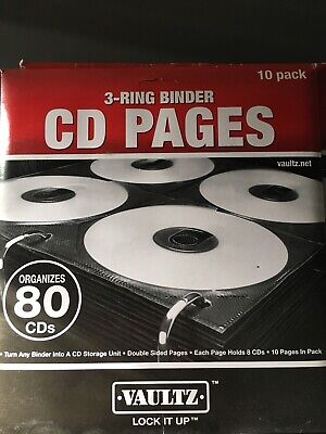 Vaultz Two-sided 3 Ring Binder Cd Pages 10 Pack - Organizes 80 Cds