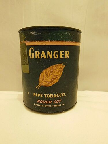EARLY VINTAGE GRANGER PAPER LABEL CARDBOARD & TIN PIPE TOBACCO CONTAINER