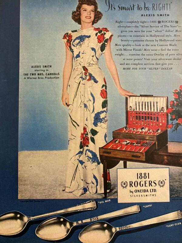 Alexis Smith, Oneida Silverware, Full Page Vintage Print Ad